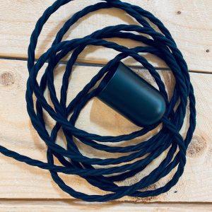 Lampasnúra Cotton Twisted Svart 3 x 0,75q